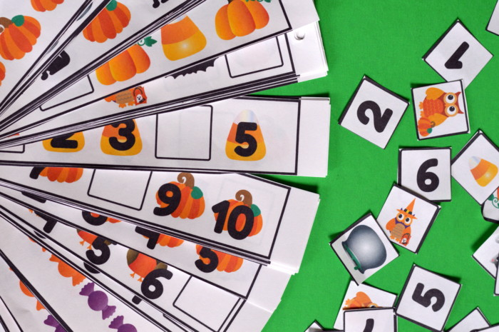 Free Printable Halloween Themed Strip Cards Missing Number, Pattern, and Counting Cards