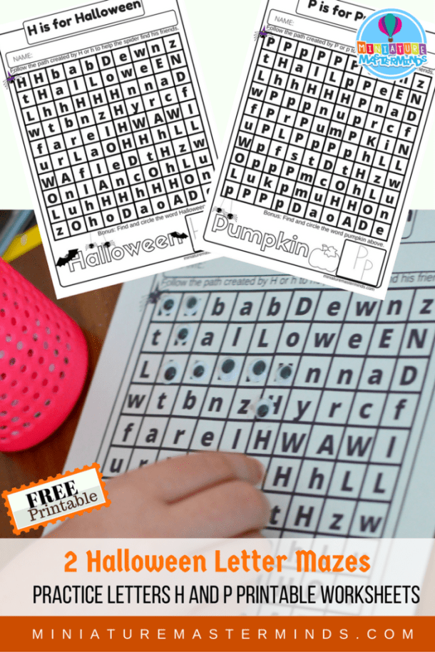 H and P Halloween Letter Practice Mazes Free Worksheet Printables Miniature Masterminds Kindergarten Printable Worksheets
