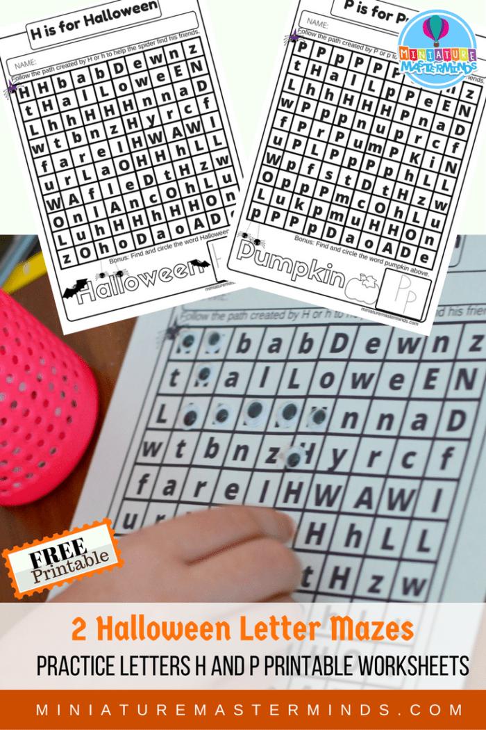 H and P Halloween Letter Practice Mazes Free Worksheet Printables Miniature Masterminds Kindergarten Printable Worksheets