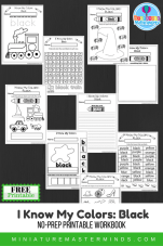 I Know My Colors Series Black Free Printable No Prep 9 Page Workbook