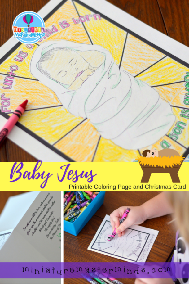 Baby Jesus Printable Coloring Page and Christmas Card