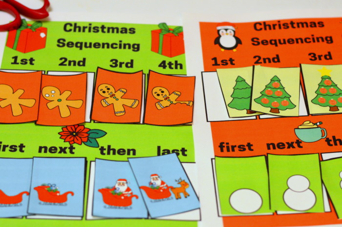 Christmas Picture Sequencing Printable File Folder Kindergarten And Preschool Activity