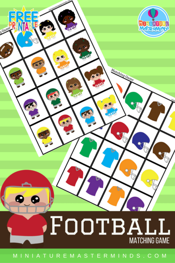 Football Themed Free Printable Matching Game