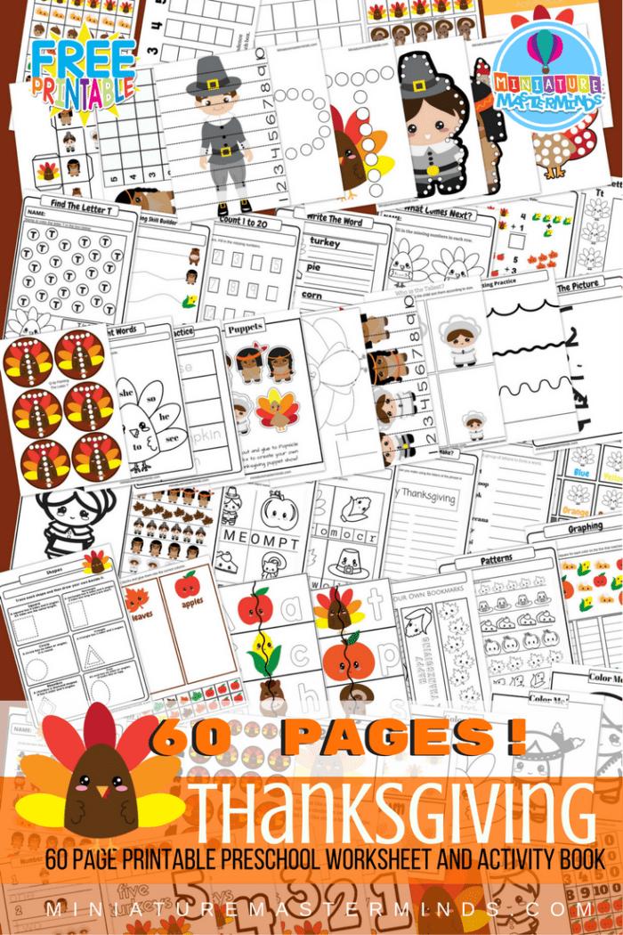 FREE Printable 60 Page Preschool and Kindergarten Thanksgiving ...
