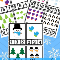 Winter Themed Preschool Clip Counting Cards 1 Thru 12