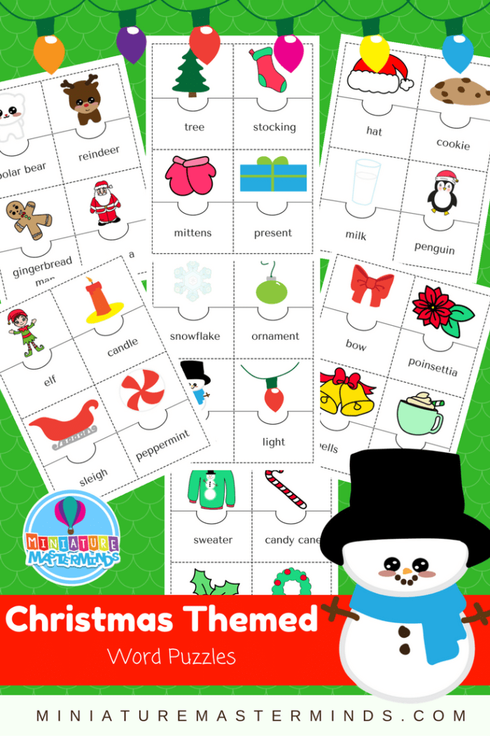 28 Christmas Themed Word Puzzles For Preschool And Kindergarten