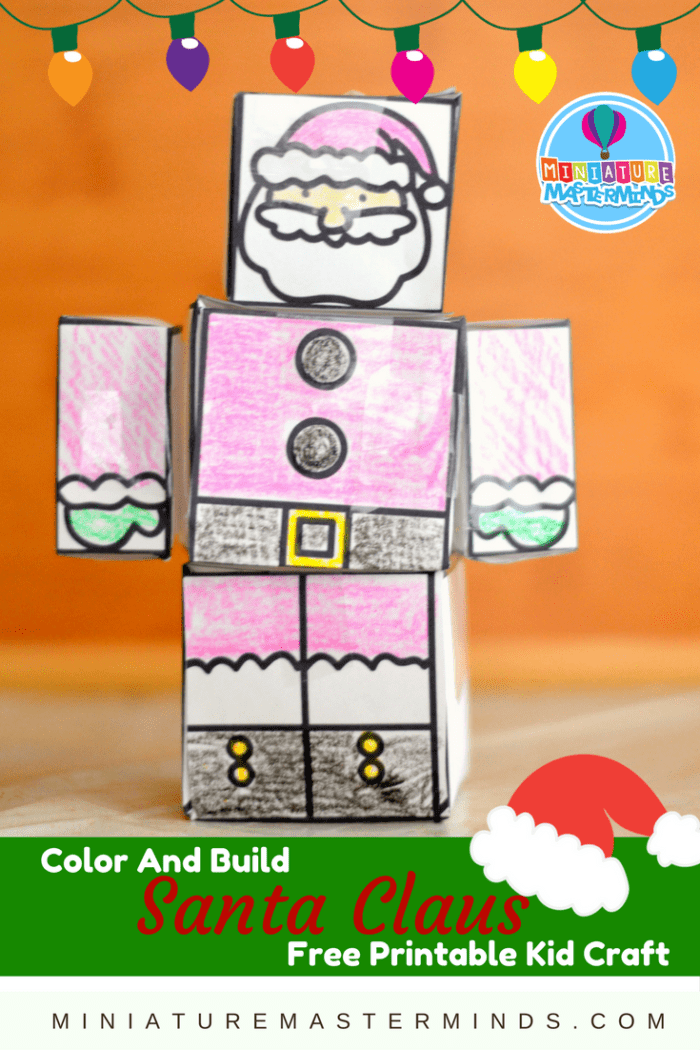 Color And Build Santa Claus Printable Christmas Kid Craft