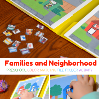 Families and Neighborhood Preschool Color Match File Folder Activity