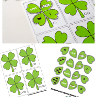 St. Patrick's Day 4 Leaf Clover Counting and Number Matching File Folder Activity