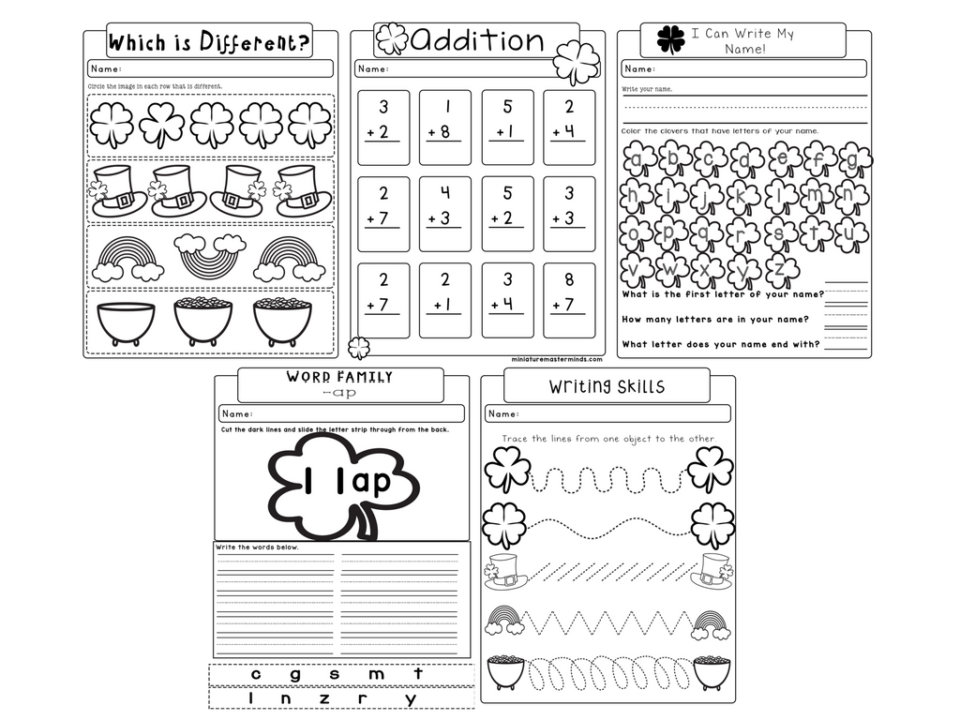 St Patricks No Prep Worksheet Pack 5 Pages Of Kindergarten