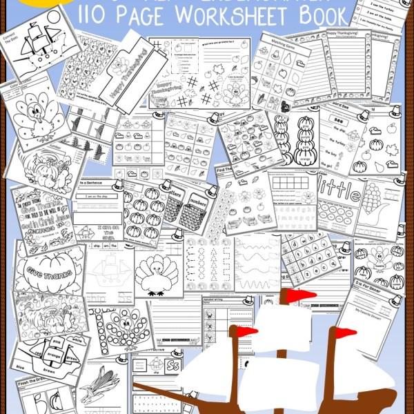 110 Page Free Thanksgiving No Prep Kindergarten Workbook