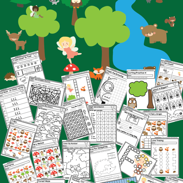 Preschool and Kindergarten Fairy Wood Land Creatures Worksheet and Activity Book 70 Pages of Fun! #free Printable