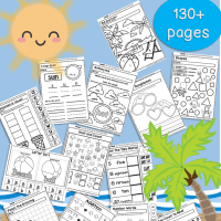 Summer No Prep Preschool and Kindergarten 130 Page Worksheet Book