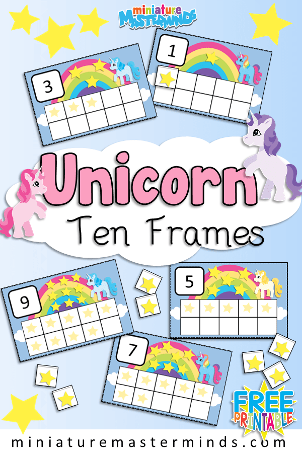 photograph about Printable 10 Frame called Printable Unicorn Themed 10 Frames Preschool and