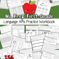 First Grade Language Arts Practice No Prep Worksheet Workbook 150+ Page Free Printable