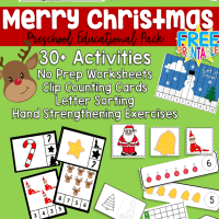 Merry Christmas Preschool Educational Book 53 Pages Several Activities Included!