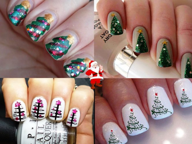 Christmas Tree Lights Nail Art Ideas