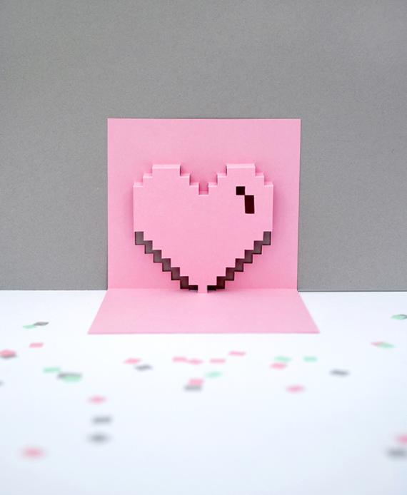 Popup Pixel Valentines Card 2013 New Amp Improved MINI ECO
