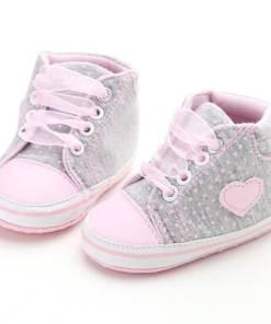 Βρεφικά παπούτσια αγκαλιάς αθλητικά γκρι πουά με ροζ