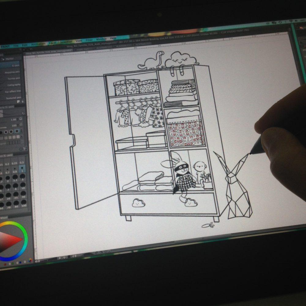 Dessin croquis travail auteur de BD illustration armoire cintiq companion