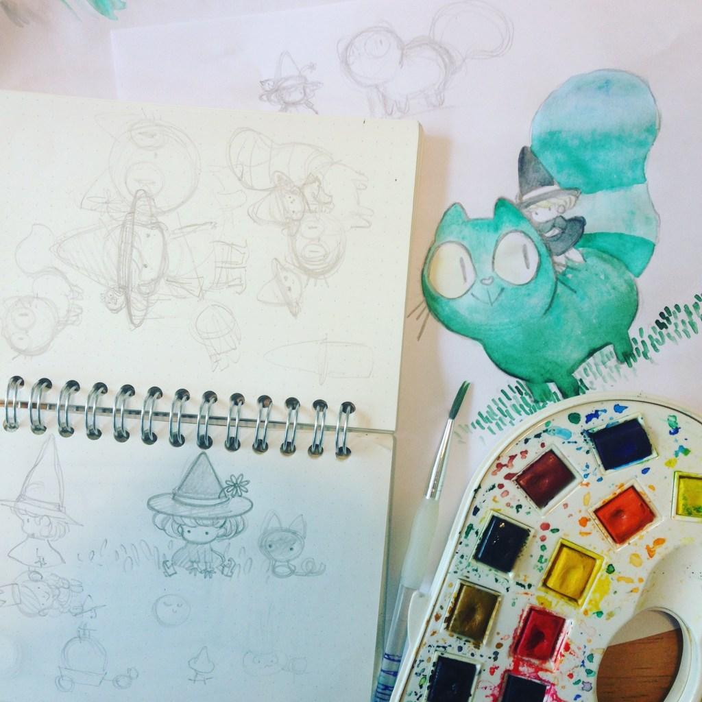 sorcière mignonne chat kawaii aquarelle travail en cours carnet de croquis