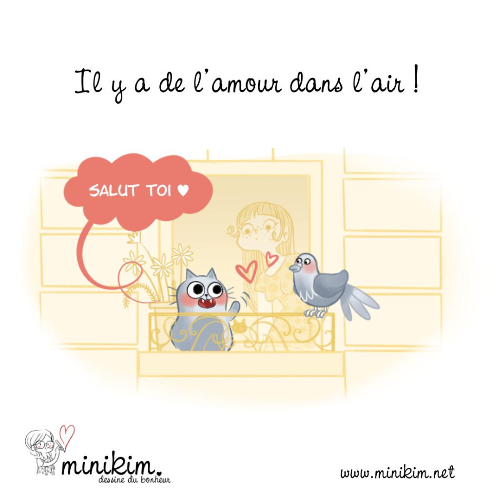 Chat amoureux, chat d'amour, chat, mon amour de chat, chat chat chat, dessin de chat, chat qui regarde par la fenêtre, chat parisien, chat d'appartement, chat sur le balcon, chat, pigeon, chat parisien