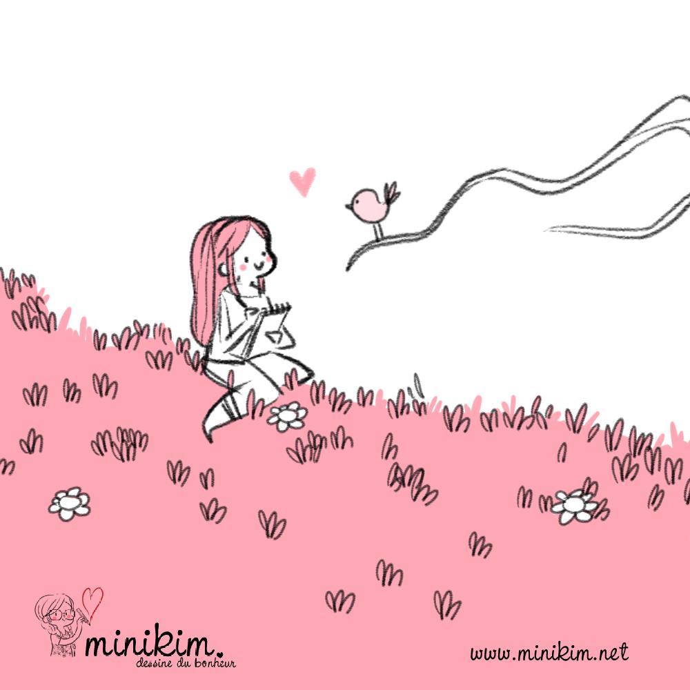 Dessine un oiseau, illustration kawaii, poésie dessinée, dessin d'oiseaux, assise dans l'herbe, dessin d'amour, petit oiseau, cute art,