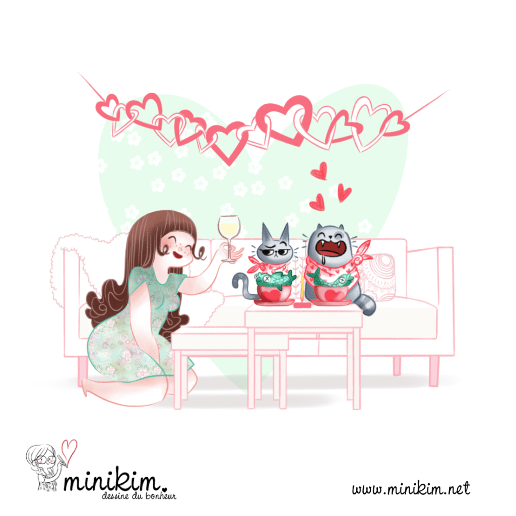 Saint valentin j'aime mes chats cat lady fille à chats crazy cat lady folle de chat amoureuse des chats minou kawaii mignon amour poisson