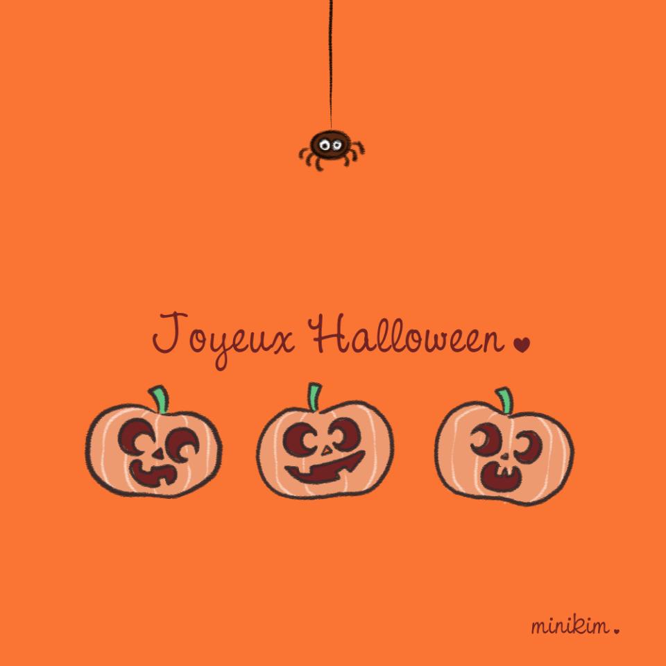 Joyeux Halloween, image, dessin halloween, image halloween, dessin citrouille, dessin araignée, illustration halloween, petite araignée, orange et noir, vive l'halloween, Montréal, MiniKim, halloween mignon, kawaii, cute, bonheur, jolies citrouilles