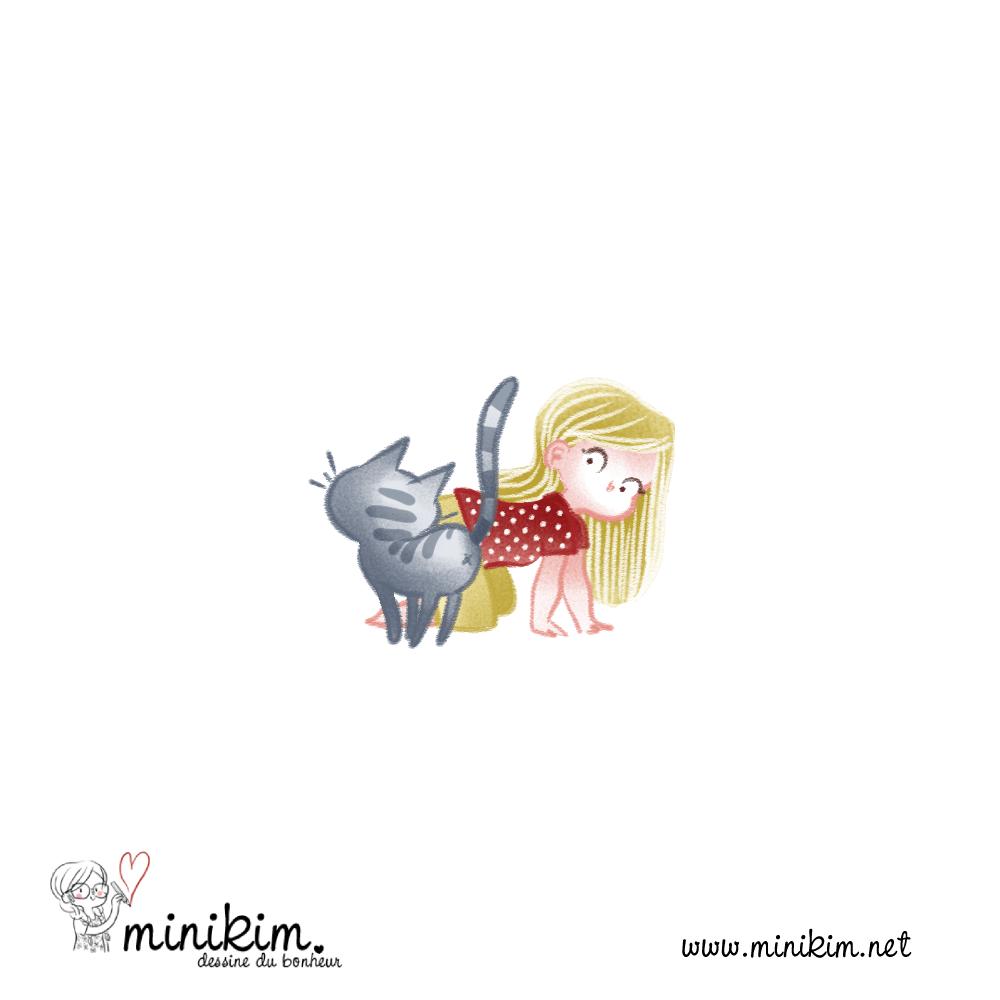 fillette, chaton, chat, vie de chat, chat mignon, BD de chat, Bande dessinée de chat, histoire de chat, bisou de chat, MiniKim, Flora, 30 ans 2 chat, BD, Bande dessinée, couleur, Cute chat, chat kawaii, dessiner des chats, dessiner un chat, Montréal