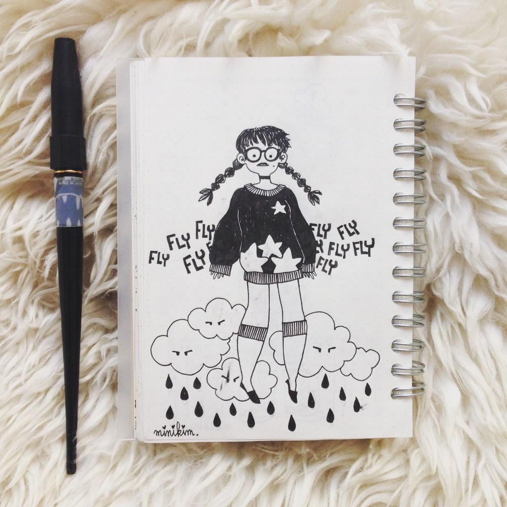Carnet de dessins, carnet addict, j'aime les carnets, dessin à l'encre, encre sur papier, muji stationnery, muji notebook, carnet muji, carnet à pois, dotted notebook, dessin de fille, fille qui vole, carbon ink pen, platinum pen, japanese pen, minikim, Montréal, illustratrice, auteure de BD