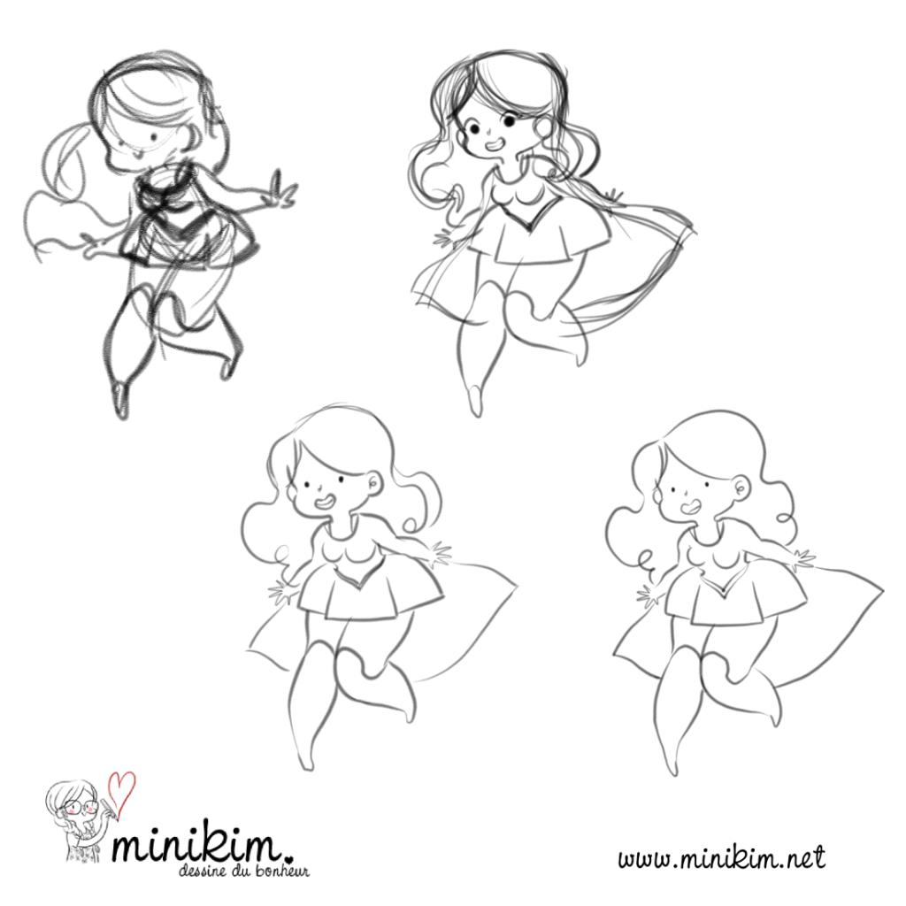 Supergirl, Fanart, fan art, Super héroïne, Super héro, Fille forte, Super fille, Dessin, illustration, MiniKim, Illustrateur, Montréal, Fan fiction, Super girl
