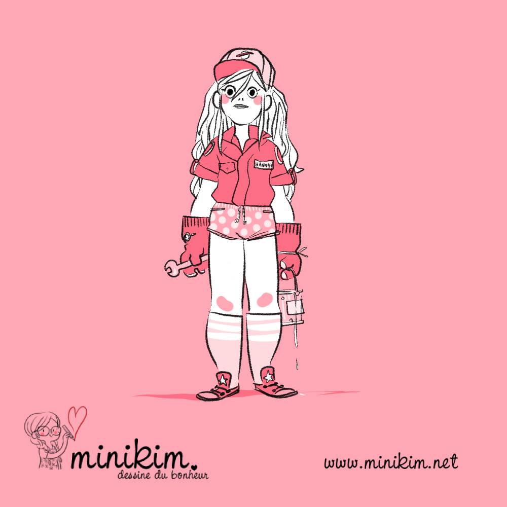 Minikim. Graine de personnage, personnage, illustration, Québec, illustrateur, character designer, chara design, Hannah, mechanic girl, girl in mechanic, fille mecanicienne, tomboy, garçon manqué, dessin, cute, pink, rose, casquette