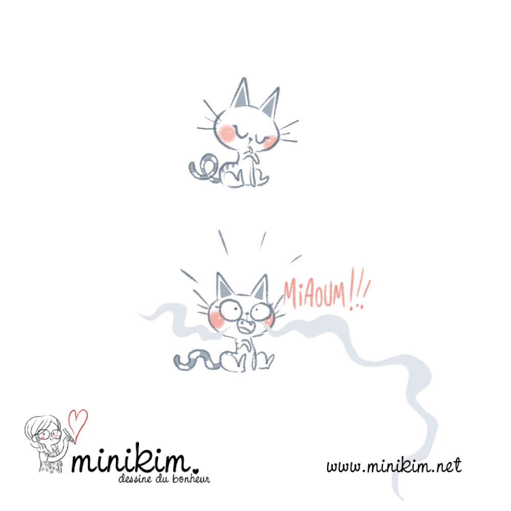 La Lettre Dessinée, Minikim, Auteure de BD, Bedeiste, illustrateur, illustratrice, Montréal, Québec, Portfolio, illustration, chat, dessin au trait, kawaii, cute, mignon