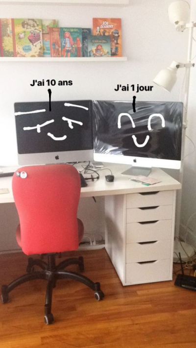 iMac versus iMac, mon nouvel ordi, nouveau compagnon d'aventure, mon atelier, Minikim, Ça rigole plus, bien équipée pour dessiner