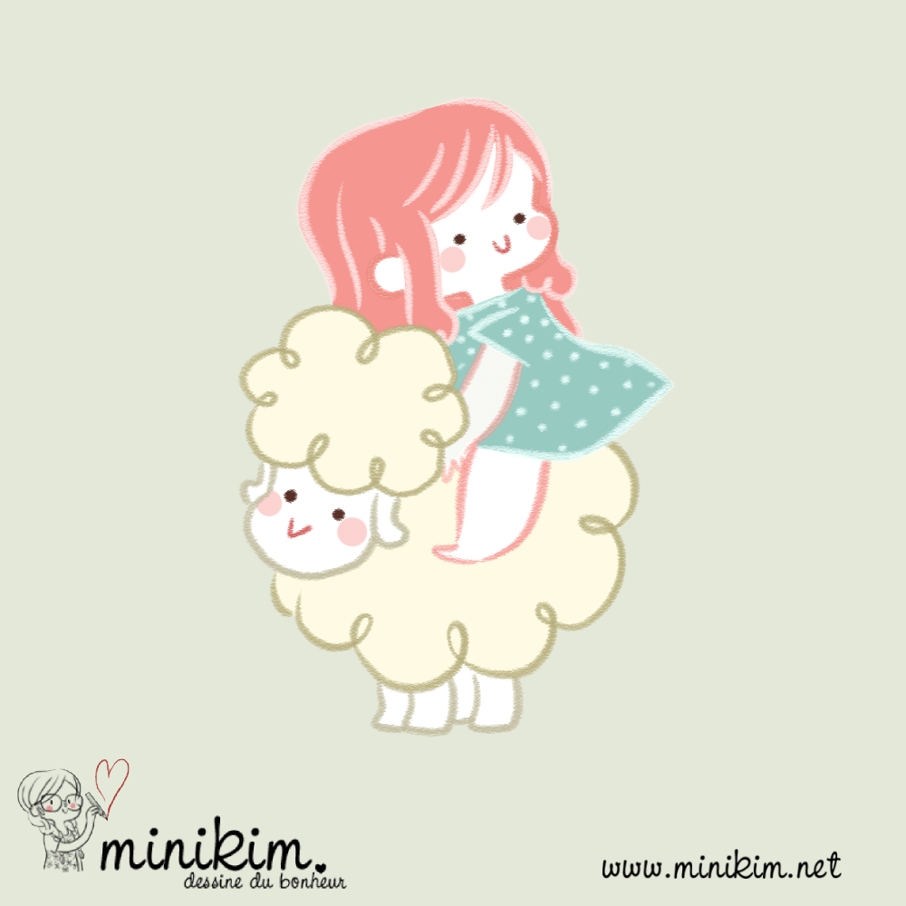 Lilibulle, mouton, assis sur un mouton, chevaucher un mouton, cute illustration, dessin kawaii, tendresse, Minikim dessine du bonheur, Minikim, illustrateur, jeunesse, illustration jeunesse, auteure jeunesse, auteur, littérature jeunesse, livres pour enfants, petit mouton,