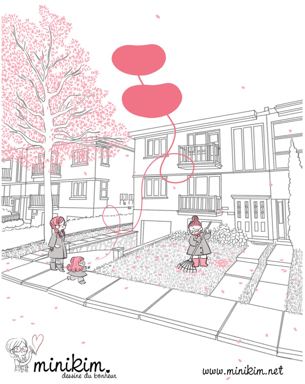 Minikim, pelouse, Montréal, dessin de Montréal, rues de Montréal, duplex, condos, ramasser les feuilles, mots d'enfants, rose, feuilles qui tombent, pelouses, Vivre à Montréal, été indien, cute, bande dessinée, Minikim, illustrateur, Artiste, autrice, BD,