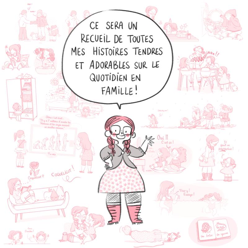 Livre, bande dessinée, BD, vie familiale, tranche de vie, à paraître, Minikim, autrice, BD, Blog BD, adorable, tendre, cute, mignon, histoire de famille, famille, parentalité, parentalité positive, dessin, illustration