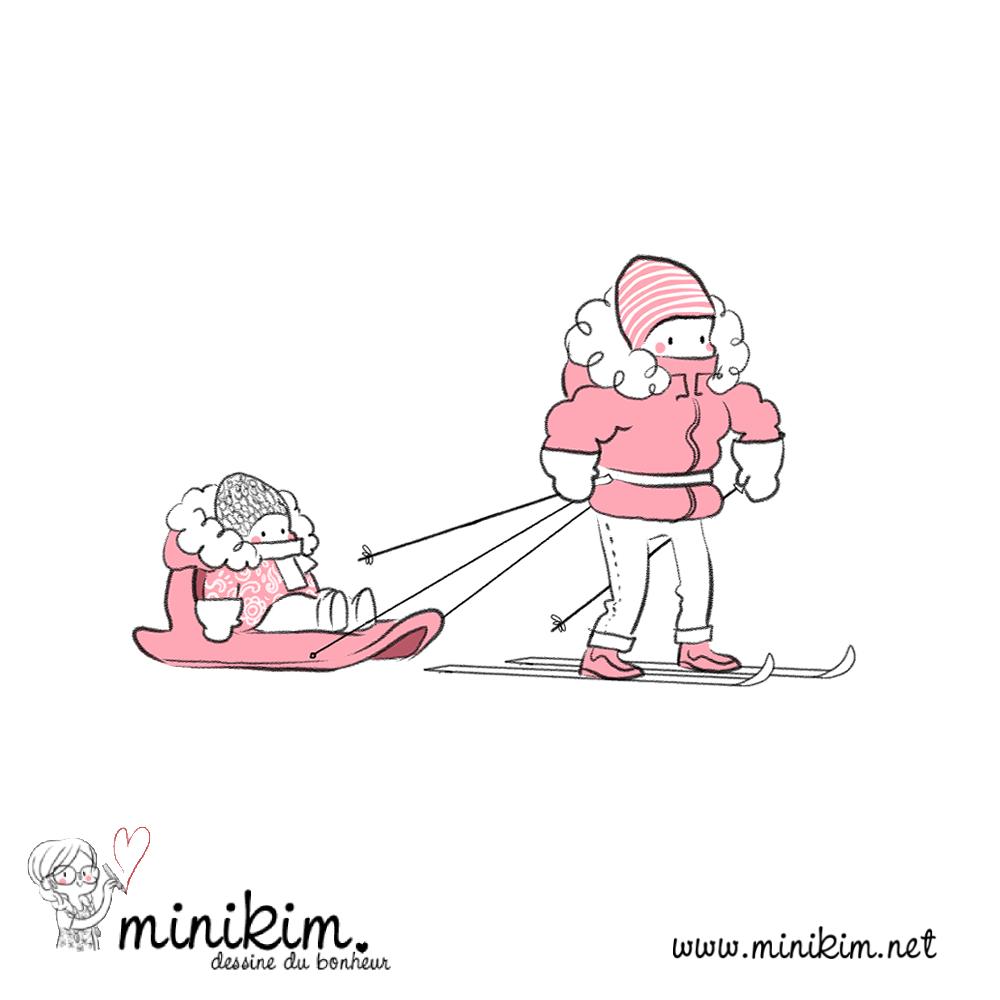 Une illustration de Minikim représentant un père qui fait du ski de fond en tirant sa fille dans une luge