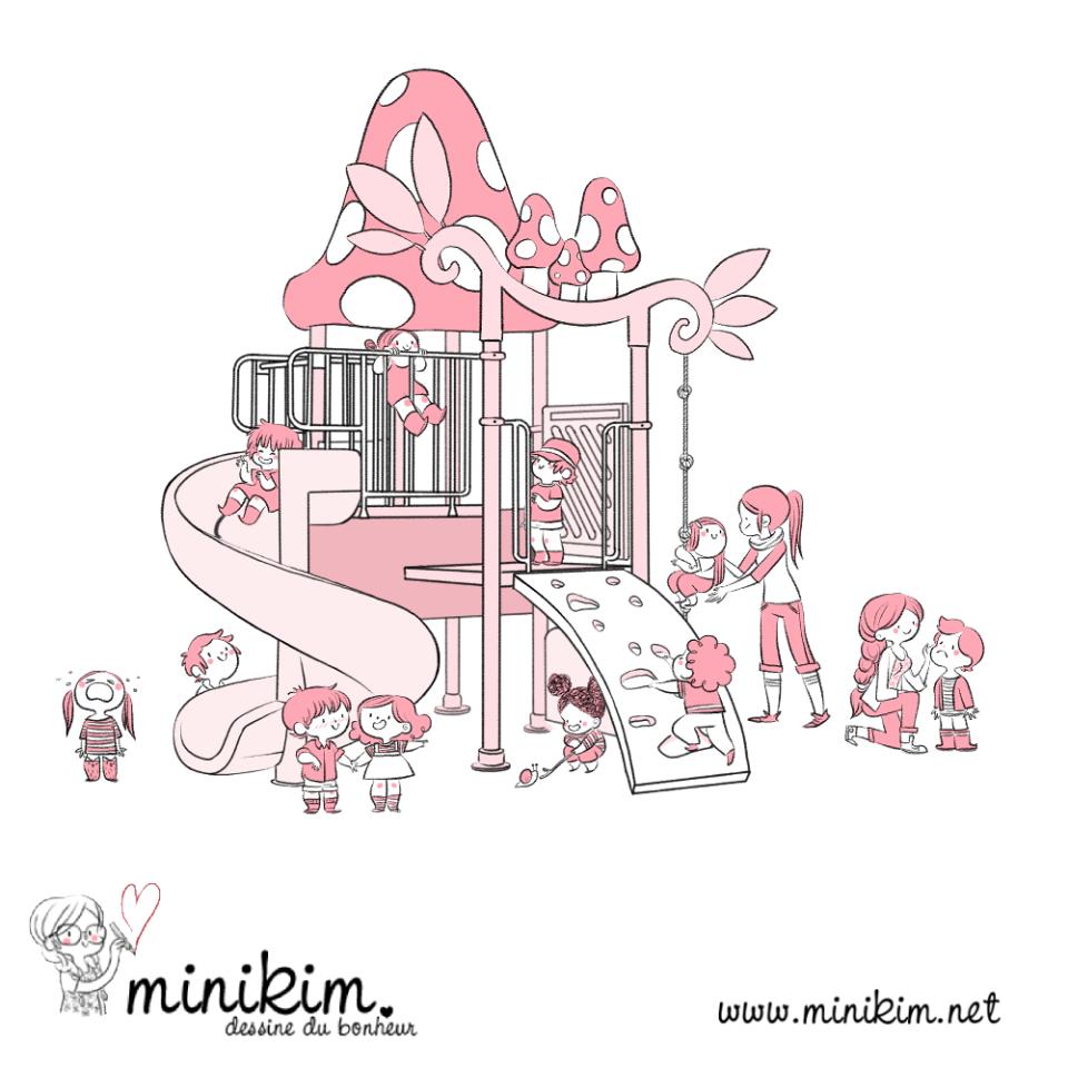 Illustration de Minikim représentant un module de jeux avec une dizaine d'enfants d'âge préscolaire et leur éducatrices