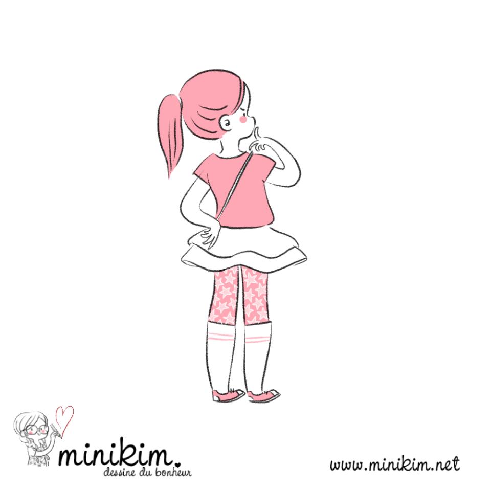 Illustration de Minikim qui représente une jeune fille, doigt sur le menton en train de réfléchir.