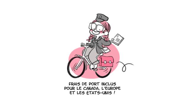 Minikim, Frais de port, facteur, factrice, la poste, postes, postes canada, PTT, vélo, sacoche vélo, illustration, dessin, art, visuel, kawaii, cute, mignon