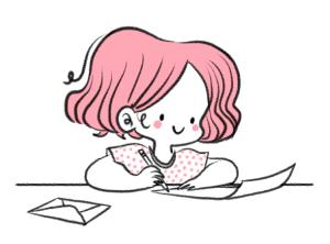Ecrire une lettre, illustration, dessin, contact, contacter, courrier, lettre, papier, enveloppe, me contacter, contact, croquis, illustratrice, minikim