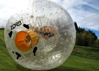 Zorbing near Rotura In New Zeland