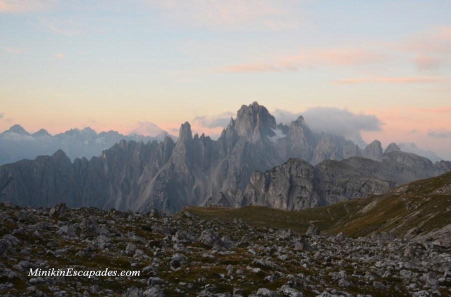 Sunrise glory over the Dolomites mountain range