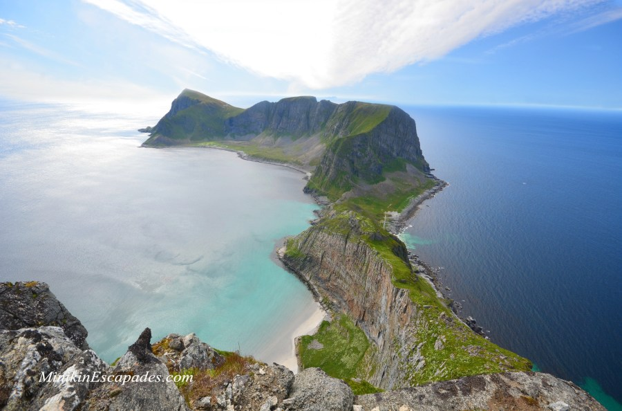 View from the top of Haen and NATO observatory on Vaeroy, Lofoten islands