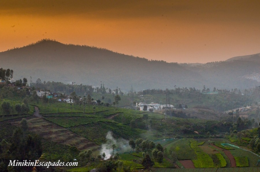Magical sunset at the foothills of Nilgiris in ooty