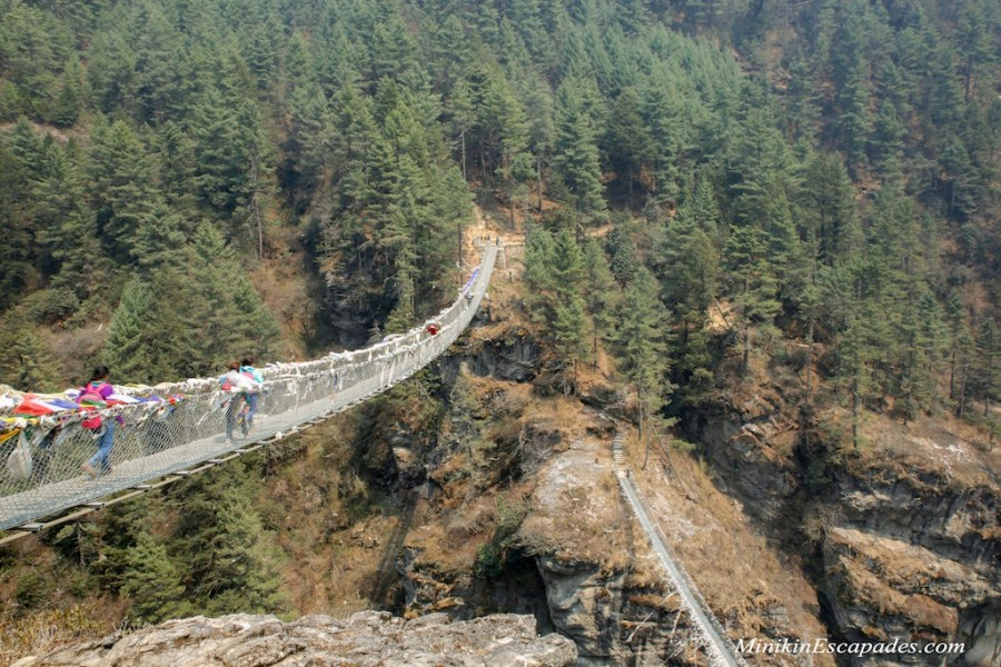 The old and new Hillary suspension bridges, Nepal