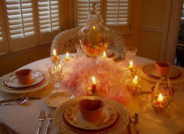 Valentines day table decoration for romantic dinner