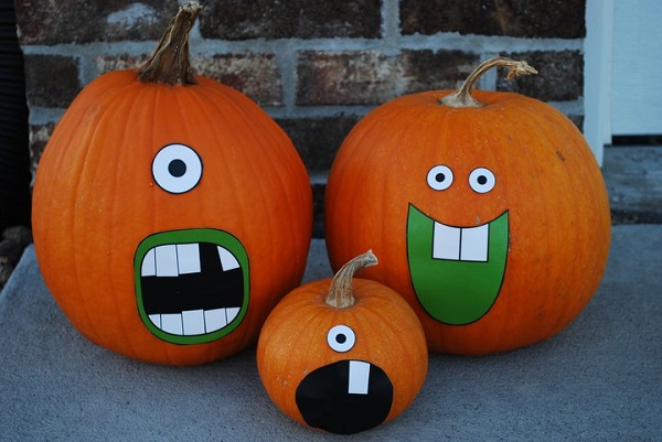 Funny pumpkin designs kids craft ideas DIY Halloween funny decoration